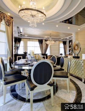 欧式别墅餐厅水晶灯吊顶装修效果图