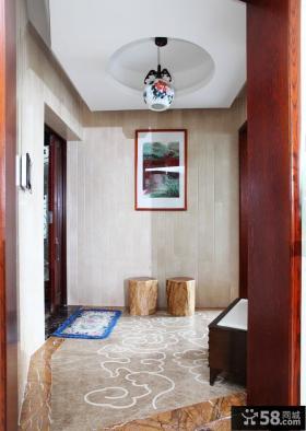 中式家庭走廊吊顶装修效果图