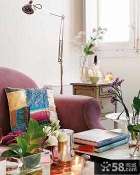 45平米小户型紫色高洁客厅沙发装修效果图大全2014图片