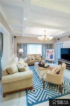 简约欧式风格两房装修客厅效果图