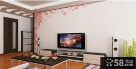 电视背景墙手绘墙画图片