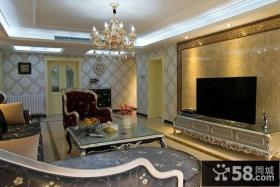 新古典装修设计室内客厅电视背景墙图片大全