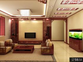 中式一居客厅电视背景墙装修效果图大全2013图片欣赏