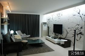 简约三居客厅电视背景墙墙绘装修效果图