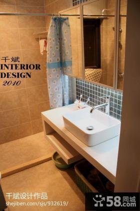 现代简约风格卫生间洗手盆浴室柜效果图