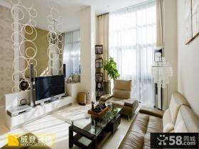 现代风格复式楼客厅电视背景墙装修效果图