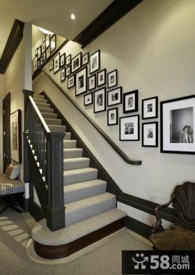 现代装修时尚复式楼梯间相片墙设计图片