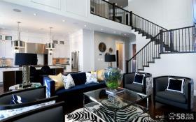 现代风格复式楼黑色时尚的客厅