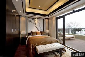 新中式别墅带阳台卧室装修