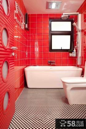 红色风格装修卫生间效果图