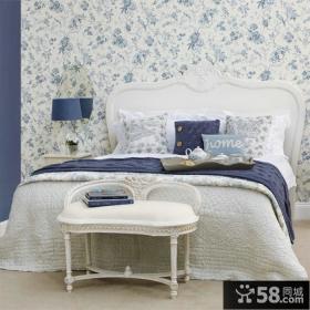 简约欧式卧室墙纸图片