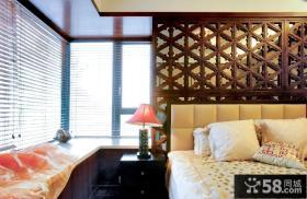 中式卧室转角飘窗装修效果图