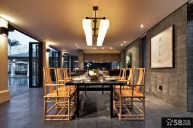 中式别墅餐厅吊灯装饰效果图片
