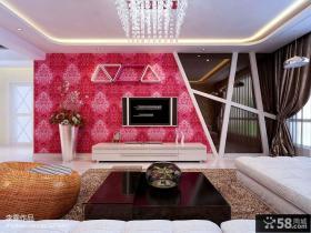 客厅电视背景墙花纹壁纸装修效果图