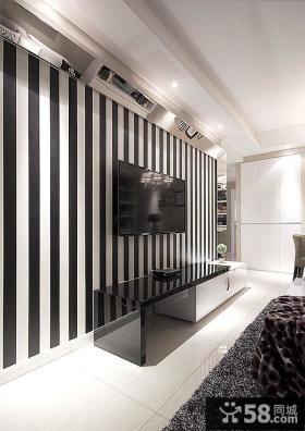 简约黑白条纹电视背景墙装修图片欣赏