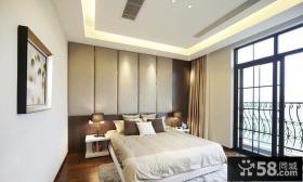 现代风格卧室床头软包皮背景墙效果图片大全
