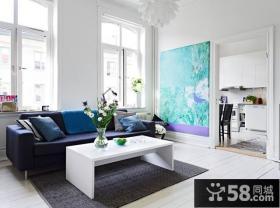 50平米蓝白清新的公寓小客厅装修效果图大全2012图片