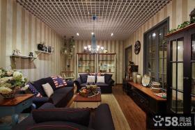 美式复古风格客厅装修设计效果图