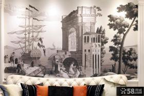 简约欧式风格客厅沙发背景墙挂画效果图