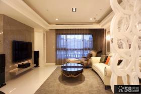 简约欧式风格客厅大理石电视背景墙装修效果图