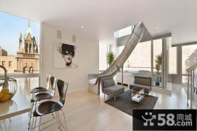 极简风格打造创意滑道复式客厅装修效果图