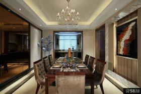 现代别墅精装样板间餐厅效果图