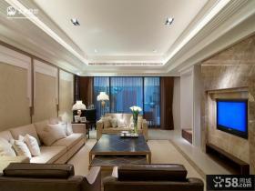 现代简约家庭客厅电视背景墙装修设计图