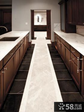 别墅厨房橱柜大理石台面效果图