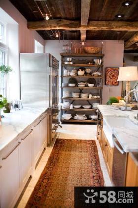 美式乡村风格厨房装修图片