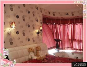 80后婚房卧室飘窗窗帘装修效果图