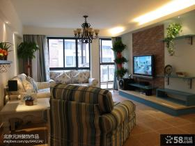 田园风格家居客厅电视背景墙效果图