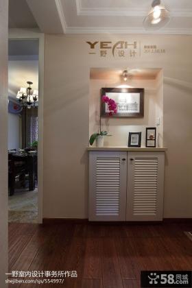 现代美式进门玄关鞋柜效果图