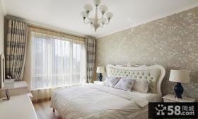 欧式家居卧室条纹窗帘效果图