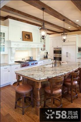 美式风格别墅厨房大理石台面效果图