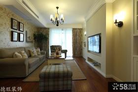 田园风格客厅嵌入式电视背景墙装修效果图