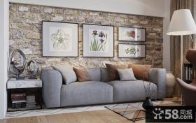 客厅沙发砂岩背景墙装饰画效果图