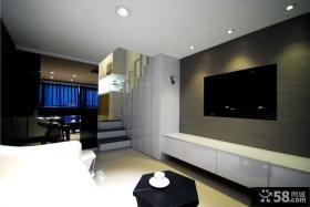 复式客厅电视背景墙装修效果图片