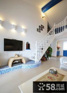 地中海风格复式楼楼梯装修效果图