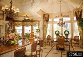 田园乡村设计餐厅窗帘效果图