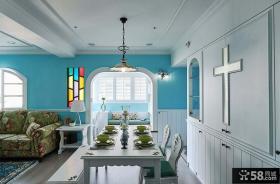 地中海简约风格室内餐厅装修效果图片