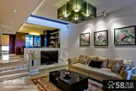 现代中式客厅吊顶装修效果图欣赏