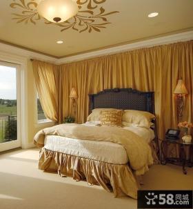 欧式古典卧室吊顶装修效果图 卧室带阳台装修设计