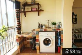 田园风格阳台洗衣机装修效果图片
