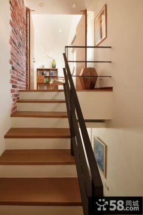 实木别墅楼梯踏步图片