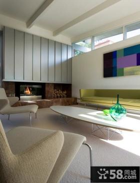 120平米现代简约复式楼客厅装修效果图