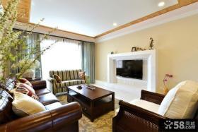 美式风格一居室装修客厅电视墙图片