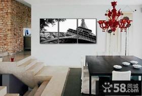 别墅餐厅简单黑白装饰画图片