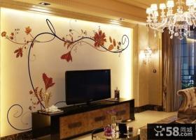 客厅手绘电视背景墙装修效果图欣赏