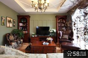 美式田园风格客厅电视背景墙效果图大全