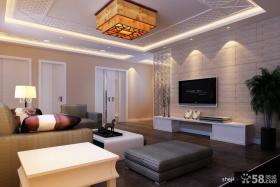 新中式客厅电视机背景墙设计效果图